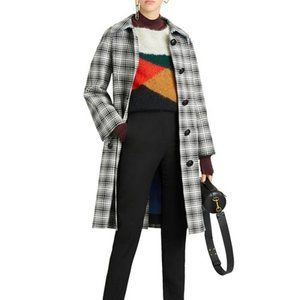 Burberry Walkden Plaid Wool Trench Coat Size 10